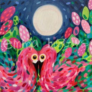 Moonlight Flamingos